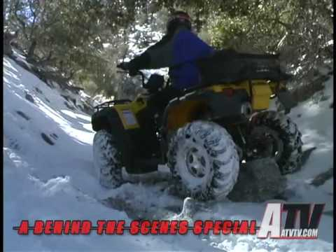 ATV Television Special - A Day Behind the Scenes Testing 3 Sets of Tires in the Snow part 1 of 3