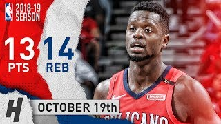 Julius Randle Full Highlights Pelicans vs Kings 2018.10.19 - 13 Pts, 14 Reb