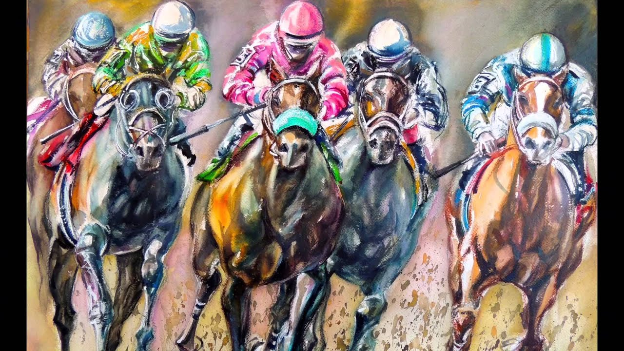 Horse Racing Painting Images
