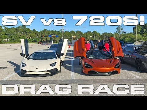 McLaren 720S vs Lamborghini Aventador SV 1/4 mile Drag Race
