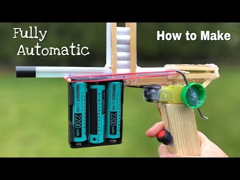 How to Make Fully Automatic Gun at Home - DIY Electric Gun that shoots very fast
