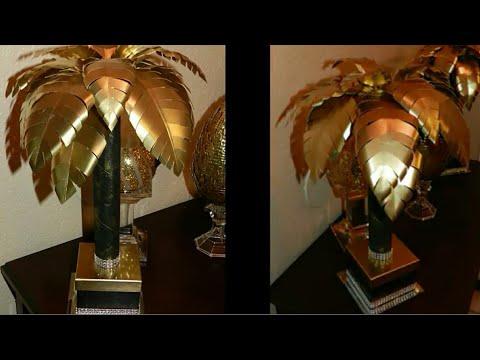 DIY Elegant Tropical Table Lamp| DIY Dollar Tree Desk Lamp| Black & Gold Home Decor