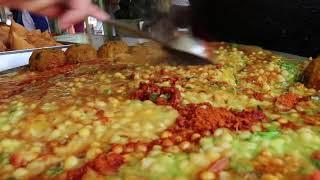 Chole Samosa Chaat indian Street food.