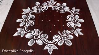 Easy flower kolam designs with 9 dots || muggulu designs with dots || आसान रंगोली डिजाइन