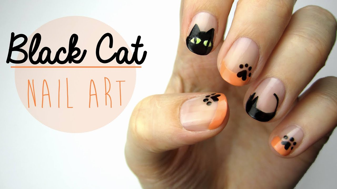 nail art black cat design