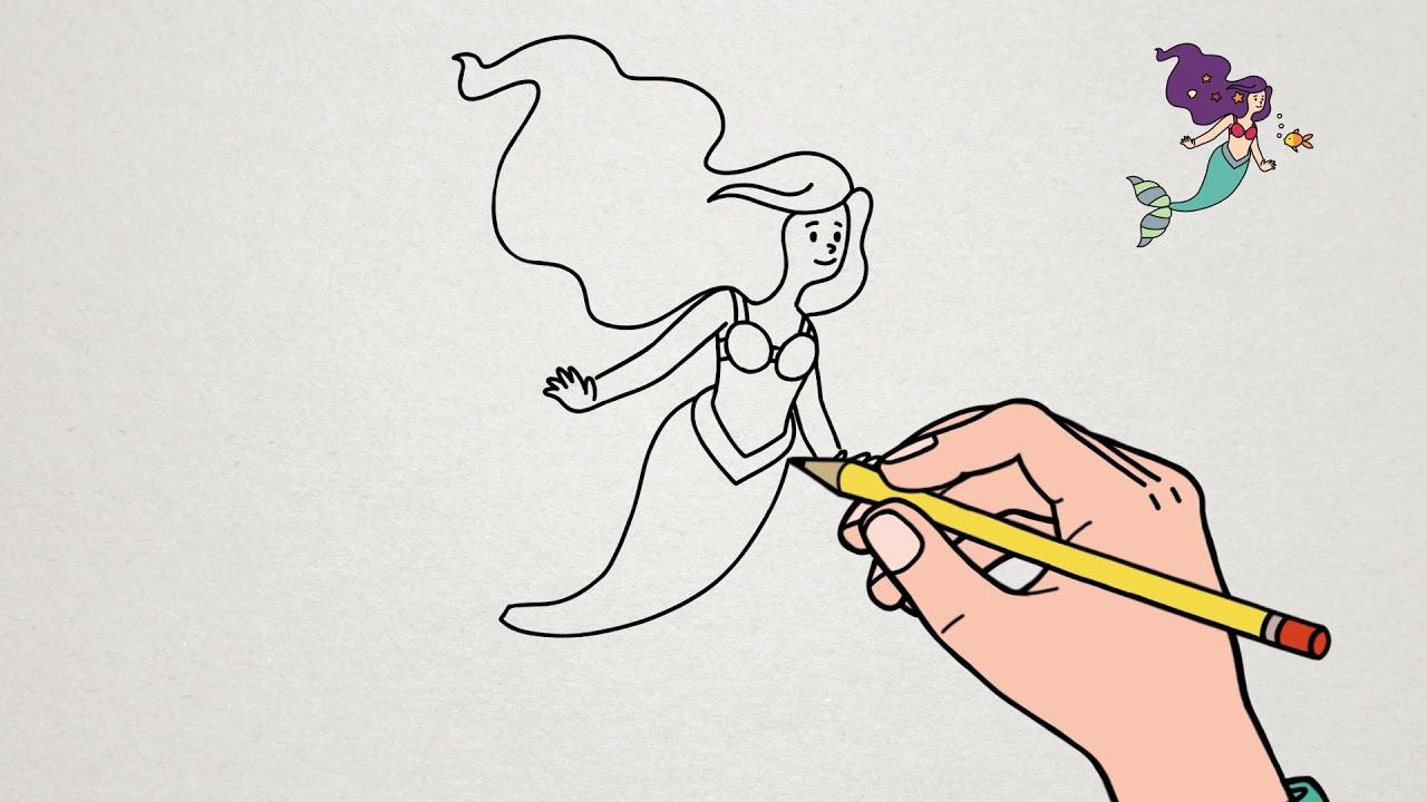 Coloriage Queue De Sirene.Apprendre A Dessiner La Petite Sirene Tutoriel Ariel Youtube