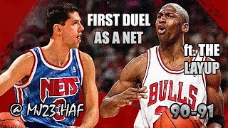 Michael Jordan vs Dražen Petrović Highlights Bulls vs Nets (1991.02.16)-43pts TOTAL,FIRST REAL DUEL!