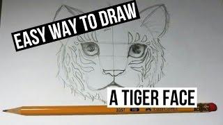 How to draw a tiger face in an easy way
