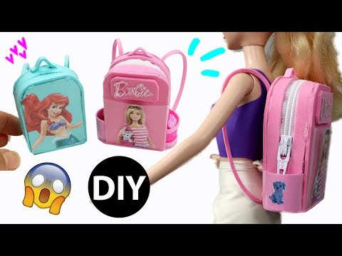 How to Make Mini Barbie Backpack School Bag for Dolls/Back to School/Dollhouse Accessories