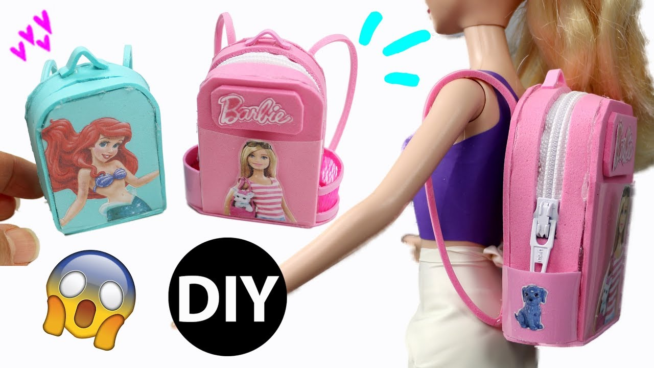 How To Make Mini Barbie Backpack School Bag For Dolls Back Dollhouse Accessories