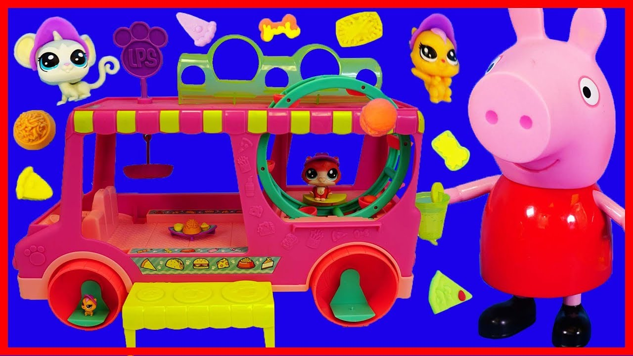 佩佩豬粉紅豬小妹小小寵物店的移動汽車玩具開箱 - YouTube