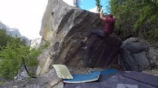 Overhang Dyno, V5, Hoodoo Creek Bouldering, Alberta, Canada.