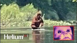 Pie Grande cargando a su bebé mientras cruza un río es captado en video