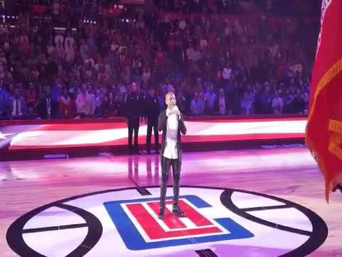 14 yr old Caleb Carroll performs National Anthem @ pe