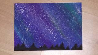 Рисунок за несколько минут. Ночное небо и деревья.