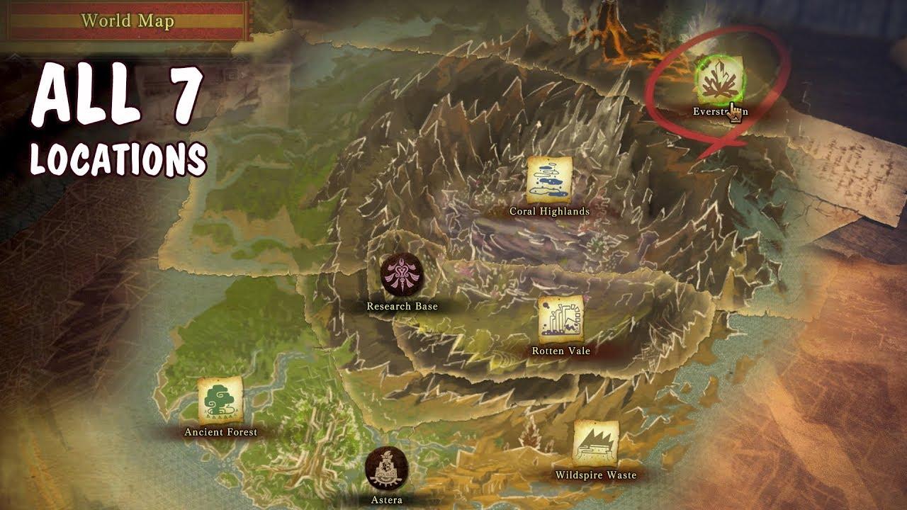 Monster Hunter World World Map 🌎 Monster Hunter World Map — All 7 MHW Locations, Full Map 1440p