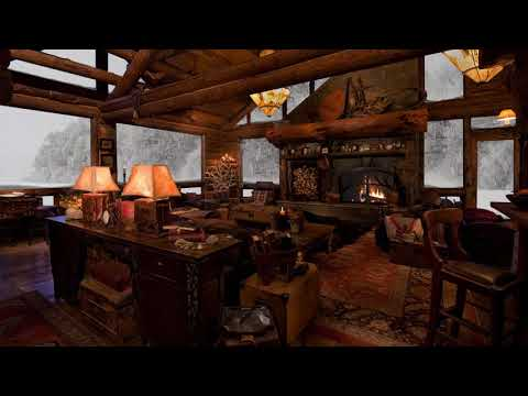 Sounds of Fireplace  Snow  RELAXING ATMOSPHERE   Cozy Log Cabin