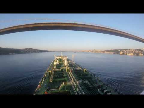 Ship passing Istanbul Strait (Bosphorus Strait) at Sunrise