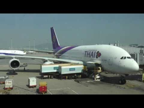 Thai Airways Airbus A380 Full Turnaround with ATC Hong Kong Airport การบินไทย