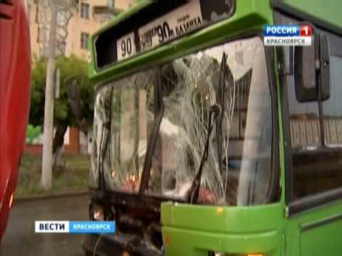 В Красноярске столкнулись 2 автобуса