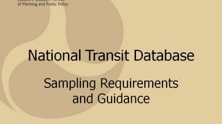 National Transit Database Sampling Requirements and Guidance