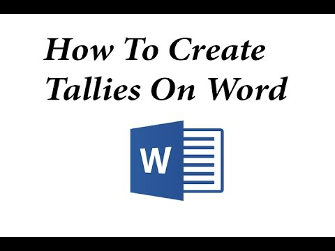 How To Make Tallies In Ms Word   Youtube