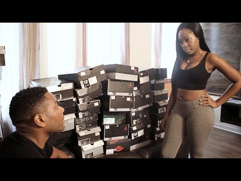 Guy has to choose between  Air Jordan's or his girlfriend
