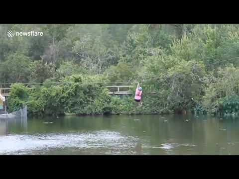 Reece - Alligator Lunges At Woman Zip Lining Over Florida Lake