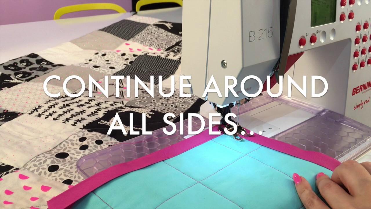 How To Machine Sew Quilt Binding With Mitered Corners - YouTube : mitered quilt binding - Adamdwight.com
