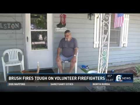 Brush fires tough on volunteer firefighters