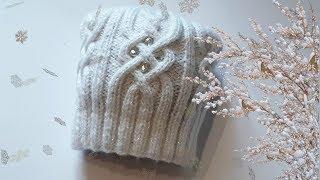 Женская шапка с аранами спицами