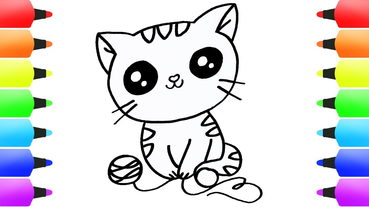 How To Draw Cat Coloring Pages For Kids Cute Cat Eyes