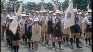 東京消防少年団と共に。消防学校校庭にて。