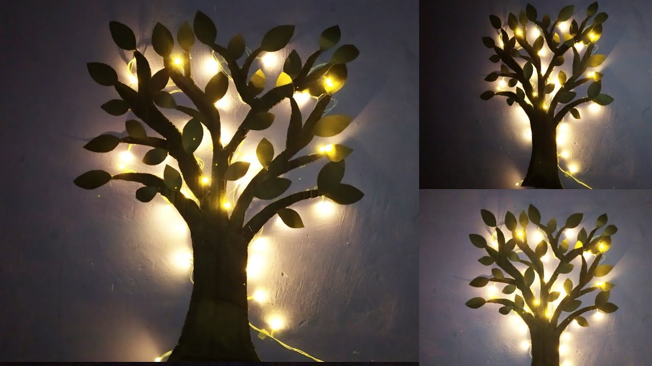 Lighting Tree For Wall Decor Diy Wall Hanging Wall Decoration Ideas Room Decor Wall Decor Youtube