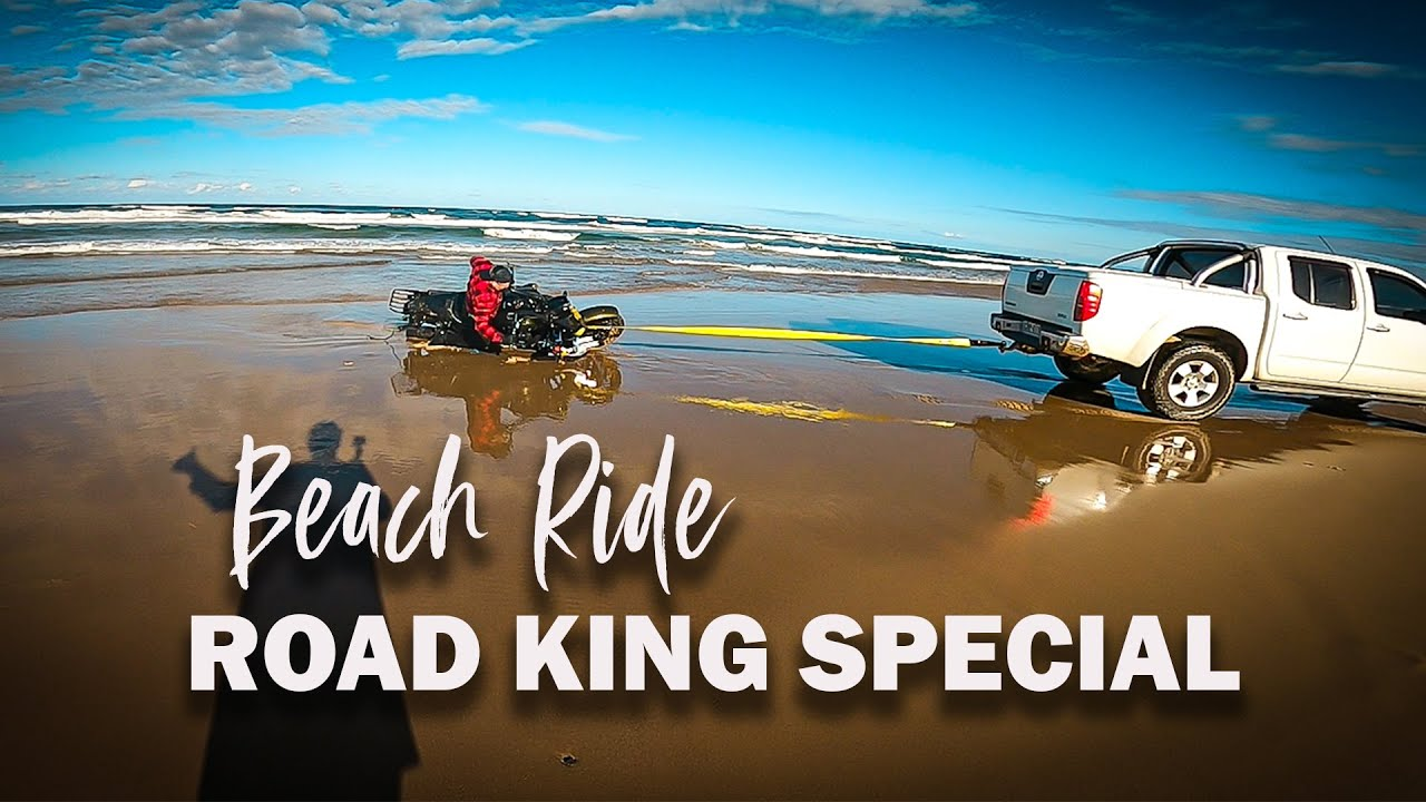 First attempt at riding my ROAD KING on an AUSTRALIAN beach