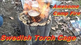 Awesome Campfire! Swedish Torch Cage!!