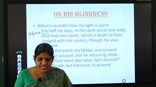 II PUC | English | On his blindness-  Poem work book.