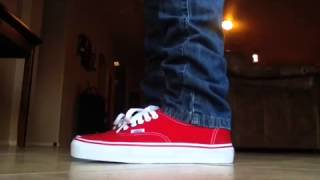 Vans red authentic on feet