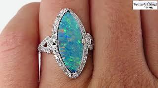 Art Deco Vintage 4.15ct Marquise Cut Black Opal and Diamond PLATINUM Ring