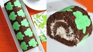 Saint Patrick's Day Shamrock Cake Roll, Chocolate Mint Stracciatella Cake,haniela's