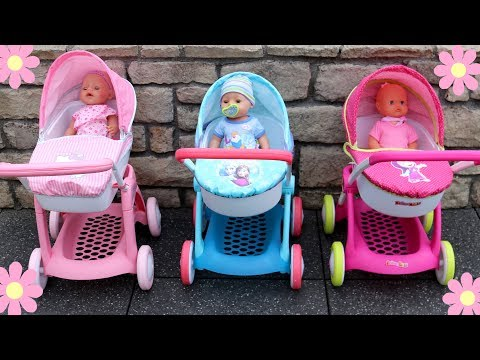 baby-dolls-pram-stroller-unboxing-review-play-masha-and-the-bear-hello-kitty-disney-frozen-pram