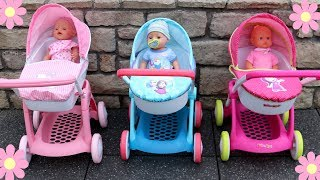 Baby Dolls Pram Stroller Unboxing Review Play Masha and The Bear Hello Kitty Disney Frozen Pram