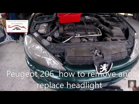 Peugeot 206   how to remove and replace headlight