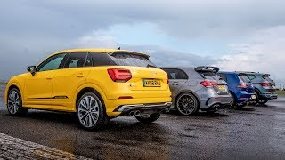 Audi SQ2 vs Merc-AMG A35 vs VW Golf R vs Cupra Ateca | Drag Races | Top Gear