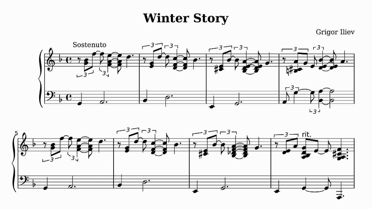 Grigor Iliev Winter Story Solo Piano Sheet Music Youtube