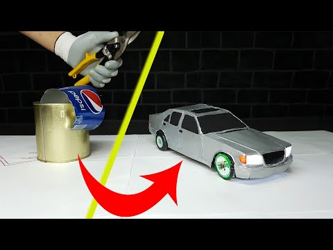 How to Make a Metal RC Car Mercedes Benz W140  From Food Cans