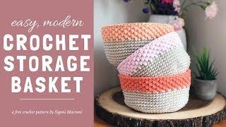 Easy Modern Crochet Storage Basket Tutorial - Free Beginner Crochet Pattern using Single Crochet