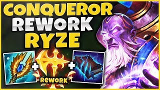 NEW CONQUEROR IS INSANE ON RYZE NOW! HUGE BONUS DMG + FAST STACKING! - League of Legends