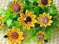【100均材料だけで つまみ細工】kanzashi flower  バザーなどにも(^-^)ひまわりヘア…