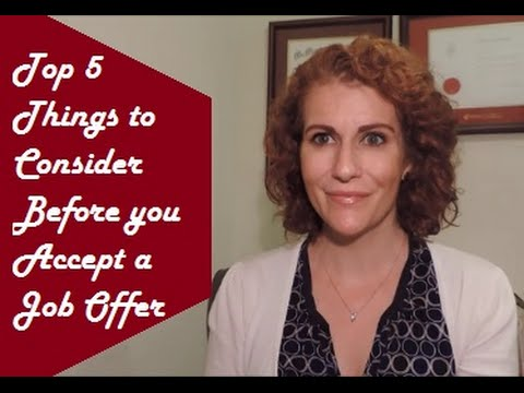 Things To Consider Before Accepting A Job Offer  Youtube